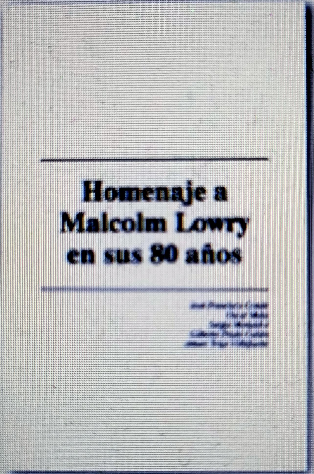 MALCOLM LOWRY (FOTO 1)
